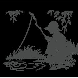 0004. Мальчик с удочкой у пруда