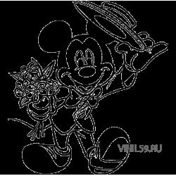 2802. Микки Мауc c цветами