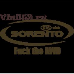 6039. Клубная наклейка SORENTO KIA-CLUB  FUCK  THE  AWD